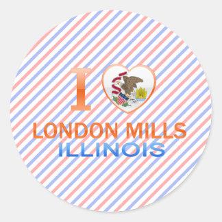 I Love London Mills, IL Classic Round Sticker