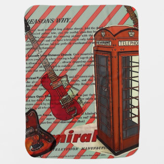 I love london musical guitar Red Telephone Booth Swaddle Blanket