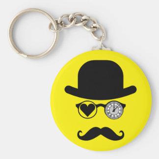 I Love London Mustache Big Ben Basic Round Button Keychain