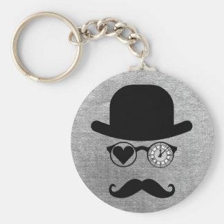 I Love London Mustache Basic Round Button Keychain