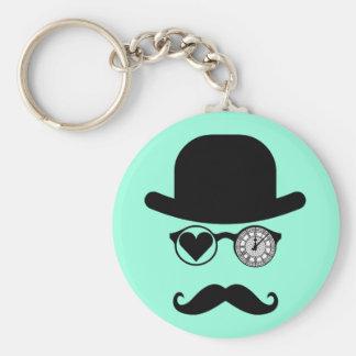 I Love London Mustache London Basic Round Button Keychain