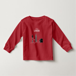 I love London Red Beautiful Artistic Sketch Modern Toddler T-shirt