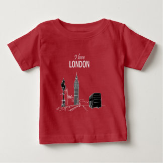 I love London Red Sketch Beautiful Modern Trendy Baby T-Shirt
