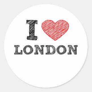 I Love London sketch souvenir Classic Round Sticker