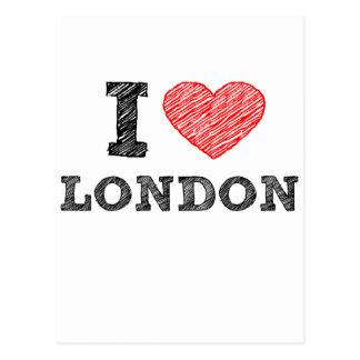 I Love London sketch souvenir Postcard