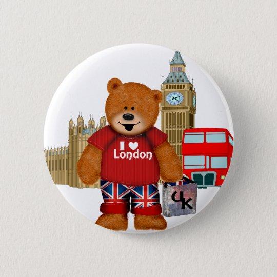 I Love London -Teddy Bear Pinback Button