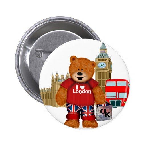 I Love London -Teddy Bear Pins