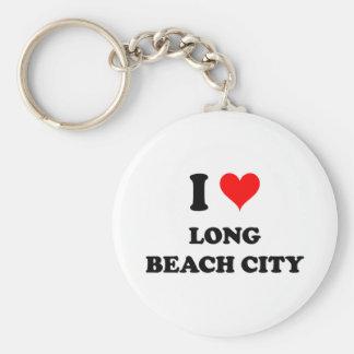 I Love Long Beach City New York Basic Round Button Keychain