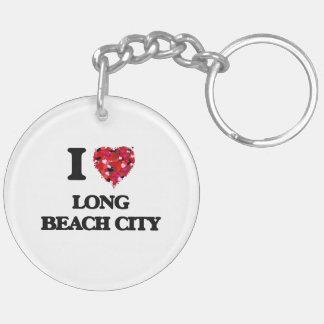 I love Long Beach City New York Double-Sided Round Acrylic Keychain