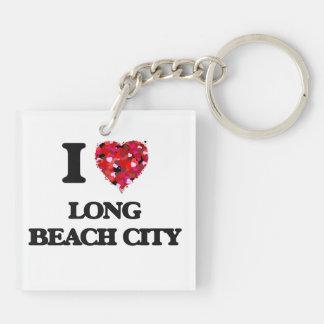 I love Long Beach City New York Double-Sided Square Acrylic Keychain
