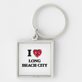 I love Long Beach City New York Silver-Colored Square Keychain