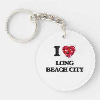 I love Long Beach City New York Single-Sided Round Acrylic Keychain