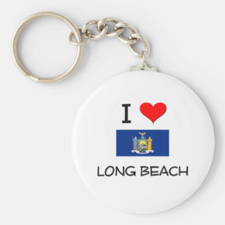 I Love Long Beach New York Basic Round Button Keychain