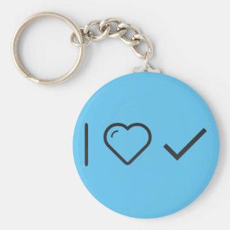 I Love Long Checks Basic Round Button Keychain