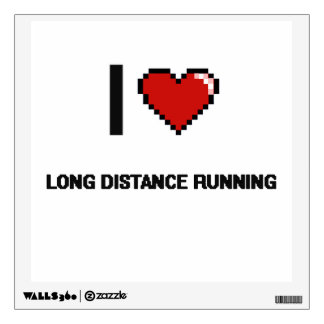 I Love Long Distance Running Digital Retro Design Wall Graphics