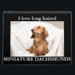 """I LOVE long haired MINIATURE DACHSHUNDS Calendar<br><div class=""""desc"""">Beautiful Doxie Pups in a variety of colors and patterns</div>"""