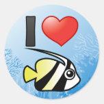 I Love Longfin Bannerfish Round Stickers