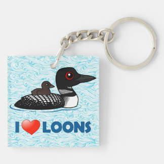 I Love Loons Square Acrylic Keychains
