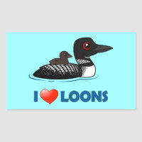 I Love Common Loons Rectangle Sticker