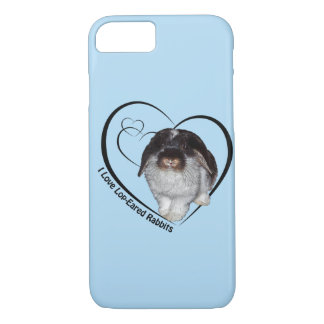 I Love Lop-Eared Rabbits iPhone 7 Case(Light Blue) iPhone 8/7 Case