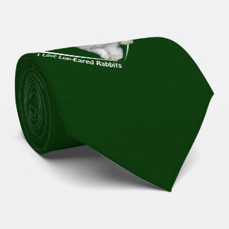 I Love Lop-Eared Rabbits Tie (Dark Green)