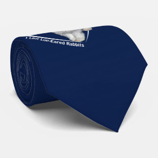 I Love Lop-Eared Rabbits Tie (Navy)