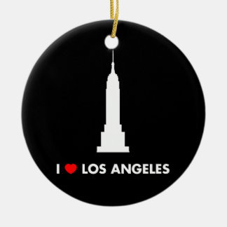 I Love Los Angeles - Empire State Building Double-Sided Ceramic Round Christmas Ornament