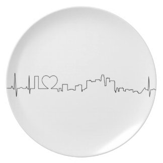 I love Los Angeles in an extraordinary ecg style Melamine Plate