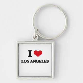 I love Los Angeles Silver-Colored Square Keychain