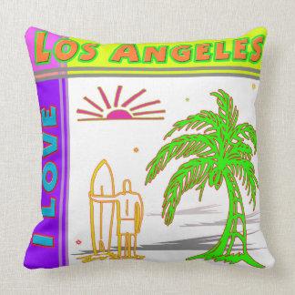 I LOVE Los Angeles Sun Palm Tree Surfer 2 Pillow