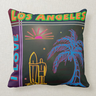 I LOVE Los Angeles Sun Palm Tree Surfer Pillow