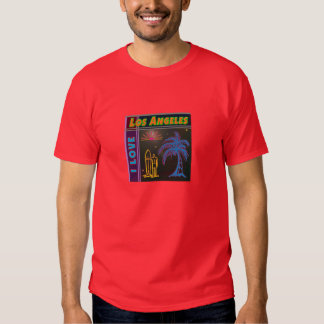 """I LOVE Los Angeles"" Sun, Palm Tree & Surfer Shirt"