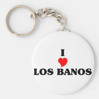 I love Los Banos Basic Round Button Keychain
