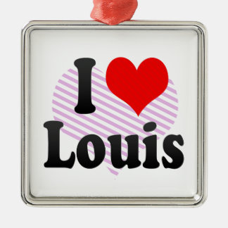 I love Louis Square Metal Christmas Ornament