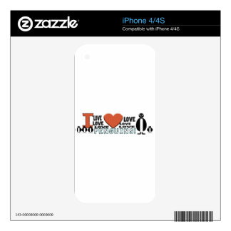I LOVE LOVE HEART PENGUINS DECALS FOR THE iPhone 4