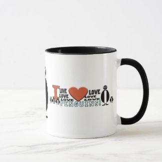 I LOVE LOVE HEART PENGUINS MUG