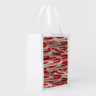 I Love Love Love Bacon All Over! Grocery Bags