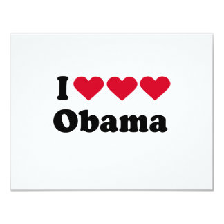 I Love Love Love Obama T-shirt 4.25x5.5 Paper Invitation Card
