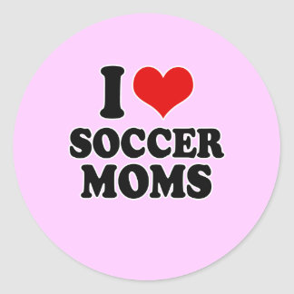 I Love love soccer moms Round Stickers