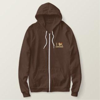 I Love Lowchens Embroidered Zip Hoodie