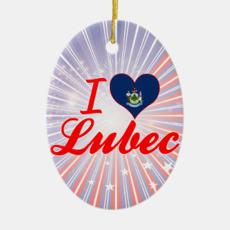 I Love Lubec, Maine Double-Sided Oval Ceramic Christmas Ornament