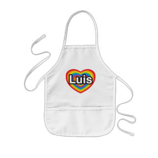 I love Luis. I love you Luis. Heart Kids' Apron