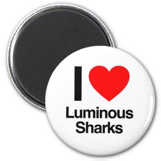 i love luminous sharks refrigerator magnet
