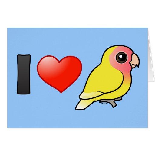 I Love Lutino Peach-faced Lovebirds Card