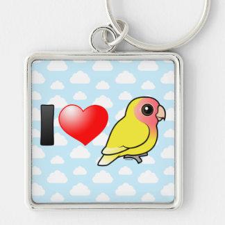 I Love Lutino Peach-faced Lovebirds Silver-Colored Square Keychain