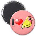 I Love Lutino Peach-faced Lovebirds Magnets