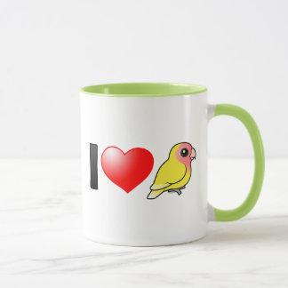 I Love Lutino Peach-faced Lovebirds Mug
