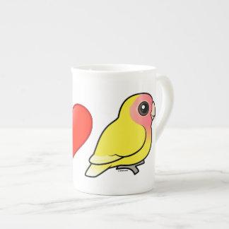 I Love Lutino Peach-faced Lovebirds Tea Cup