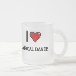 I Love Lyrical Dance Digital Retro Design 10 Oz Frosted Glass Coffee Mug