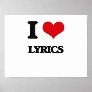 I Love Lyrics Posters